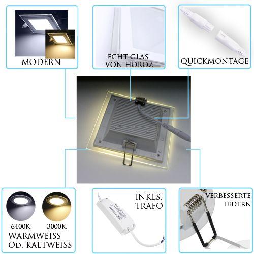 led panel glas einbaustrahler deckenleuchte einbau beleuchtung eckig rund flach ebay. Black Bedroom Furniture Sets. Home Design Ideas