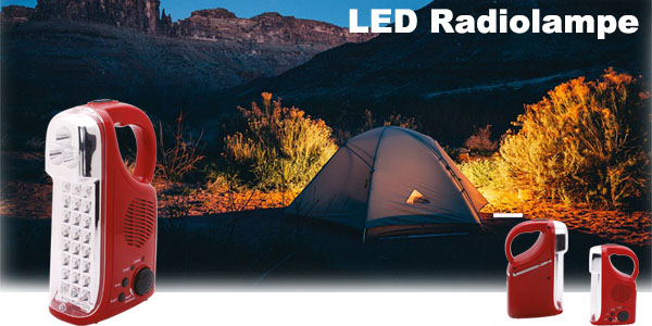 LED Camping Licht Notfall Laterne Tragbare Taschenlampe Radio mit Akku