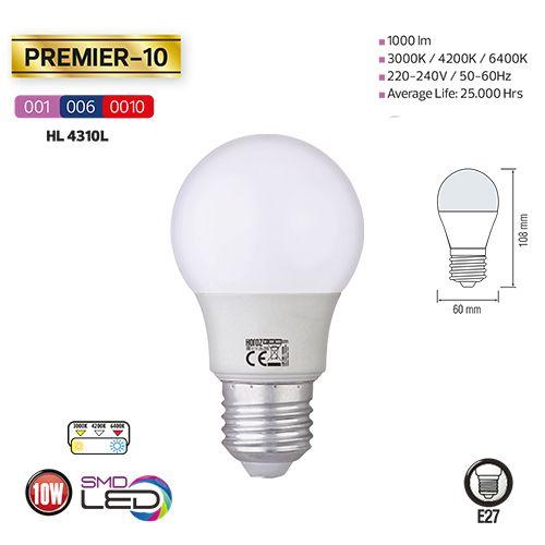 LED E27 10W 1000LM KW 6400K HL4310L, kaltweiss