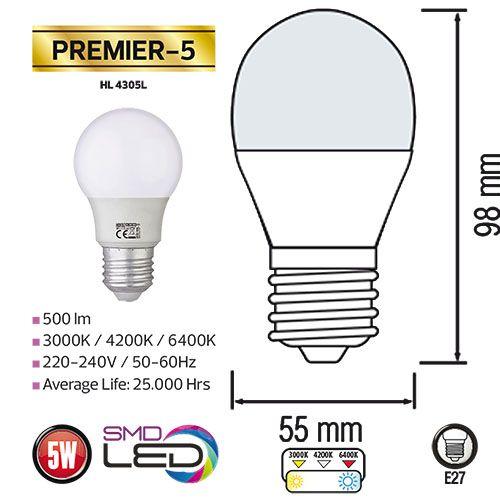 5x PREMIER-5 5W 3000K E27 Leuchtmittel, Warmweiss