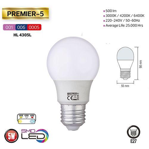 5x PREMIER-5 5W 6400K E27 Leuchtmittel, Kaltweiss