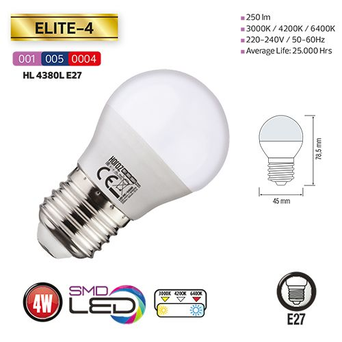 10x LED MINIGLOBE 3,5W E27 6400K KALTWEIß HL4380