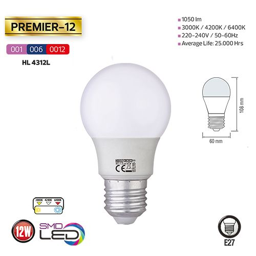 5x PREMIER-12 12W 3000K E27 175-250V LED Leuchtmittel