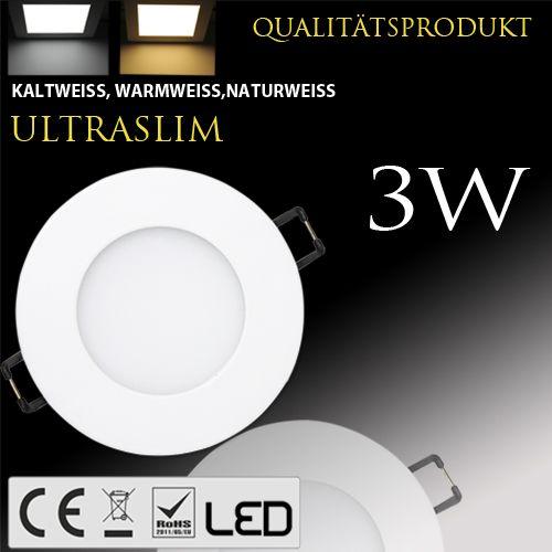 3W Ultraslim LED Panel Einbaustrahler Deckenleuchte Rund Leuchte weiss warmweiss