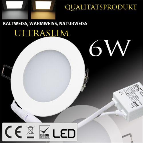 6W Ultraslim LED Panel Einbaustrahler Deckenleuchte Rund Leuchte weiss naturweiss