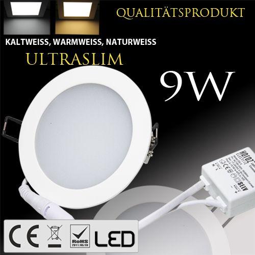 9W Ultraslim LED Panel Einbaustrahler Deckenleuchte Rund Leuchte weiss warmweiss