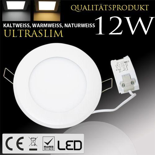 12W Ultraslim LED Panel Einbaustrahler Deckenleuchte Rund Leuchte weiss warmweiss
