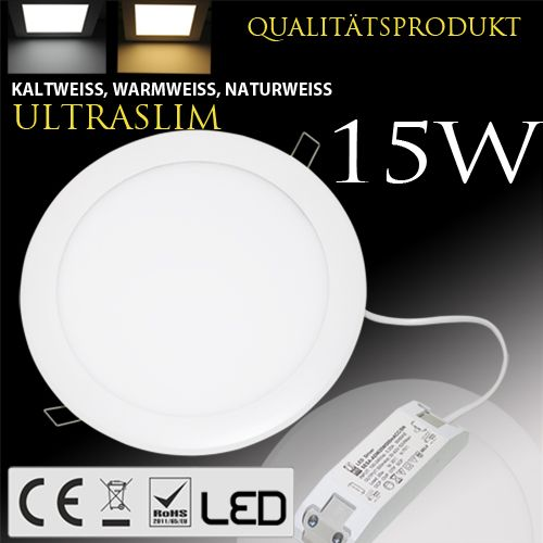 15W Ultraslim LED Panel Einbaustrahler Deckenleuchte Rund Leuchte weiss naturweiss