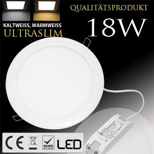 18W Ultraslim LED Panel Einbaustrahler Deckenleuchte Rund Leuchte weiss naturweiss