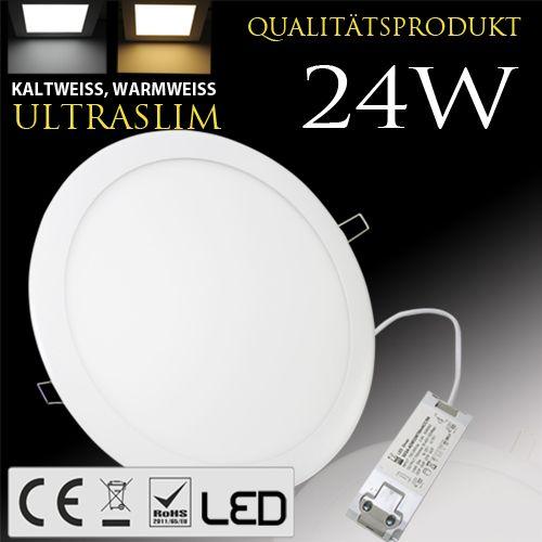 24W Ultraslim LED Panel Einbaustrahler Deckenleuchte Rund Leuchte weiss naturweiss
