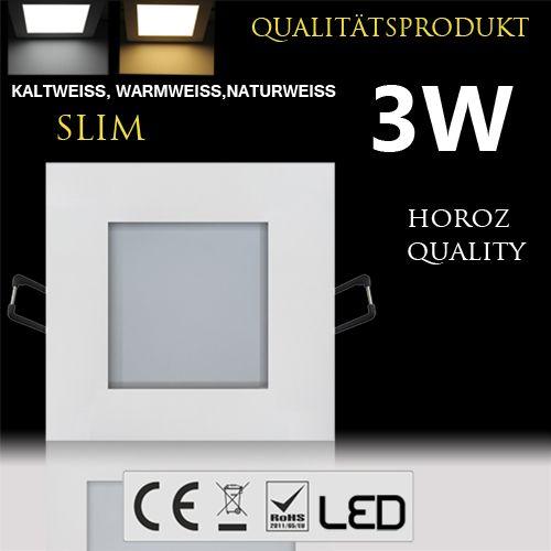 3W Ultraslim LED Panel Einbaustrahler Deckenleuchte Eckig Leuchte weiss kaltweiss