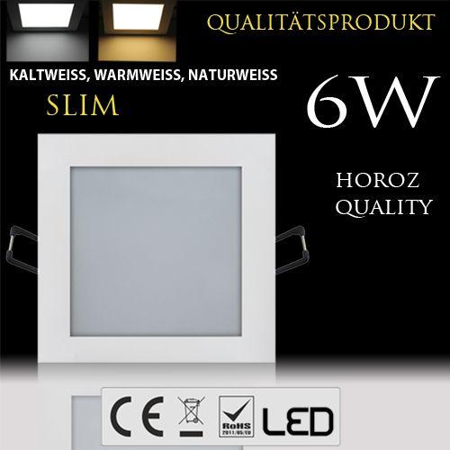 6W Ultraslim LED Panel Einbaustrahler Deckenleuchte Eckig Leuchte weiss warmweiss