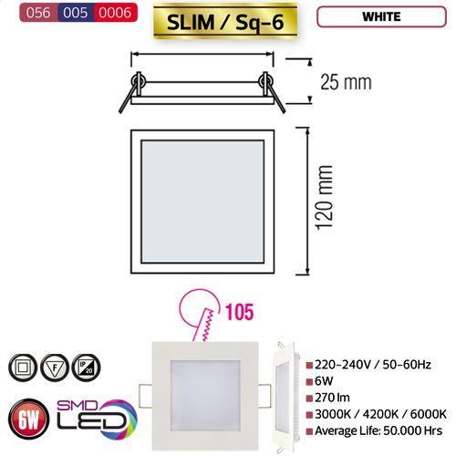 6W Ultraslim LED Panel Einbaustrahler Deckenleuchte Eckig Leuchte weiss kaltweiss