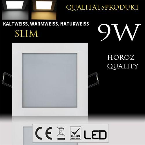 9W Ultraslim LED Panel Einbaustrahler Deckenleuchte Eckig Leuchte weiss naturweiss