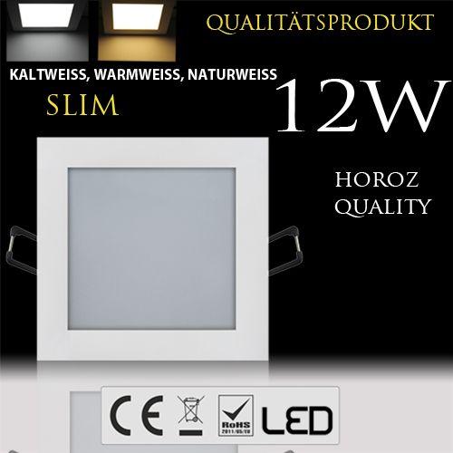 12W Ultraslim LED Panel Einbaustrahler Deckenleuchte Eckig Leuchte weiss naturweiss