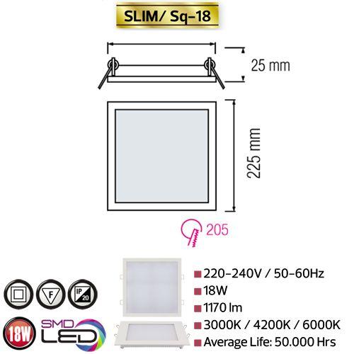 18W Ultraslim LED Panel Einbaustrahler Deckenleuchte Eckig Leuchte weiss warmweiss