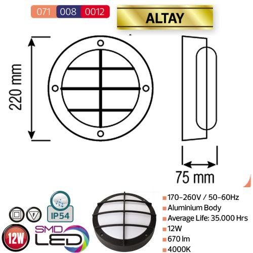 LED Kellerleuchte Kellerlampe 12W Schwarz 4000K ALTAY