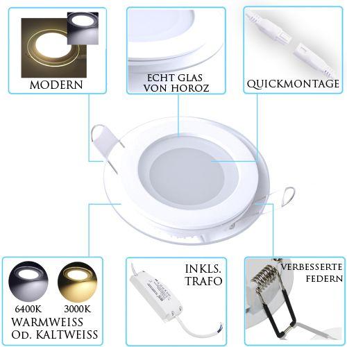 6W Glas Design LED Panel Einbaustrahler Deckenleuchte Rund Lichtpanel warmweiss HL687LG