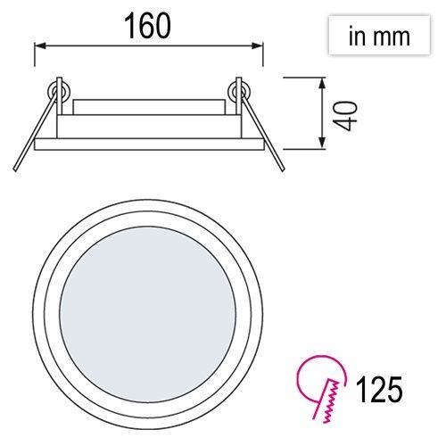 12W Glas Design LED Panel Einbaustrahler Deckenleuchte Rund Lichtpanel naturweiss HL688LG