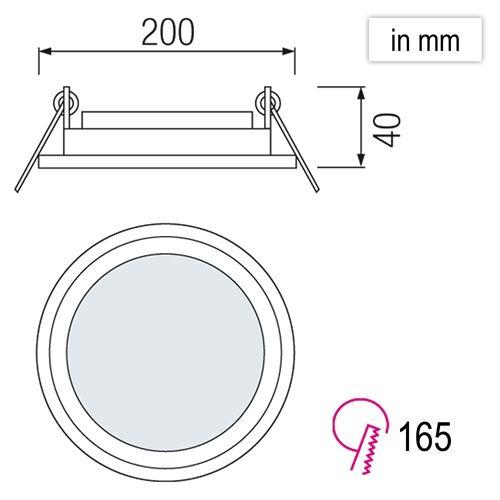 15W Glas Design LED Panel Einbaustrahler Deckenleuchte Rund Lichtpanel naturweiss HL689LG