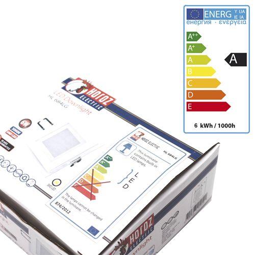 6W Glas Design LED Panel Einbaustrahler Deckenleuchte Eckig Lichtpanel naturweiss HL684LG