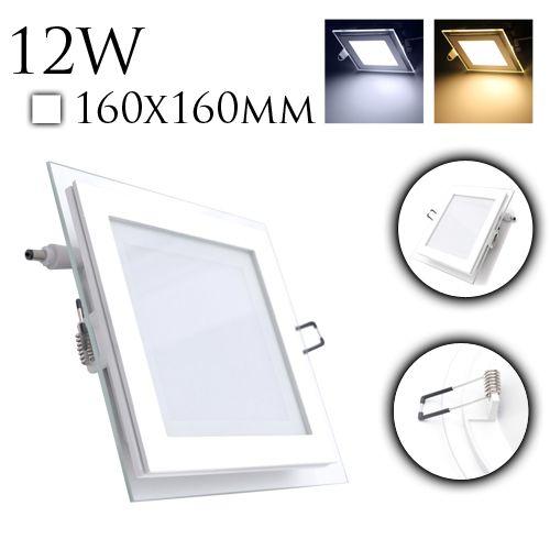 12W Glas Design LED Panel Einbaustrahler Deckenleuchte Eckig Lichtpanel naturweiss HL685LG