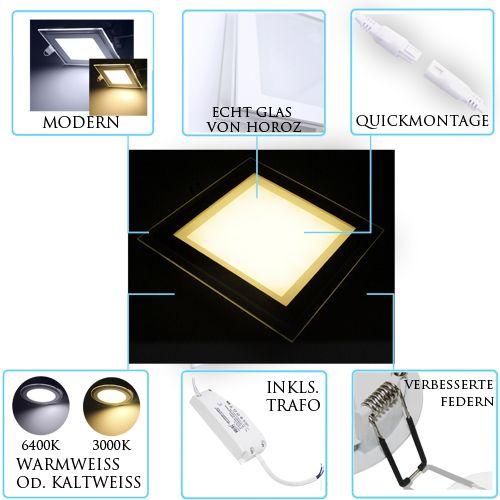 15W Glas Design LED Panel Einbaustrahler Deckenleuchte Eckig Lichtpanel naturweiss HL686LG