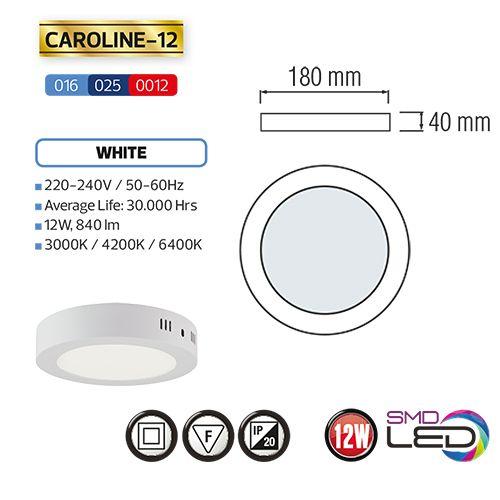 CAROLINE-12 LED Aufputz Panel Deckenpanel Rund 12W, kaltweiss 6000K