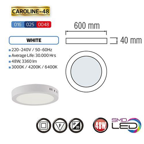 CAROLINE-48 LED Aufputz Panel Deckenpanel Rund 48W, tageslicht 4200K
