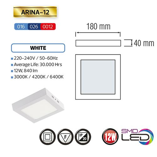 ARINA-12 LED Aufputz Panel Deckenpanel Eckig 12W, warmweiss 3000K
