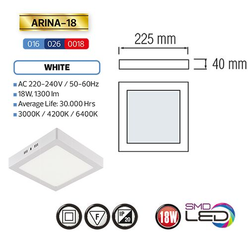 ARINA-18 LED Aufputz Panel Deckenpanel Eckig 18W, warmweiss 3000K