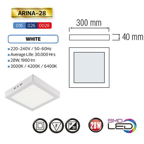 ARINA-28 LED Aufputz Panel Deckenpanel Eckig 28W, warmweiss 3000K