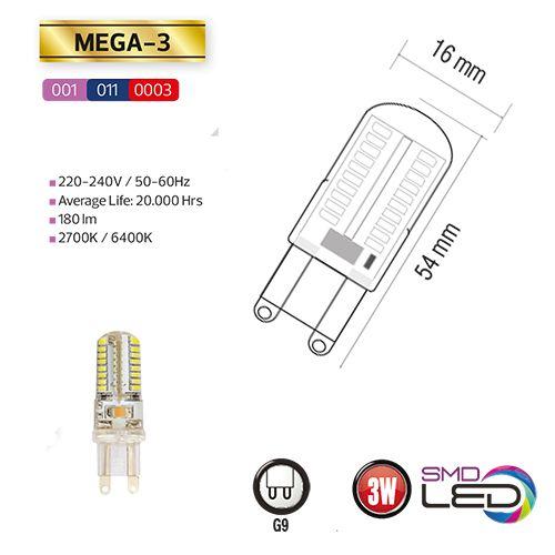 MEGA-3 3W Silikon G9 6400K LED Leuchtmittel