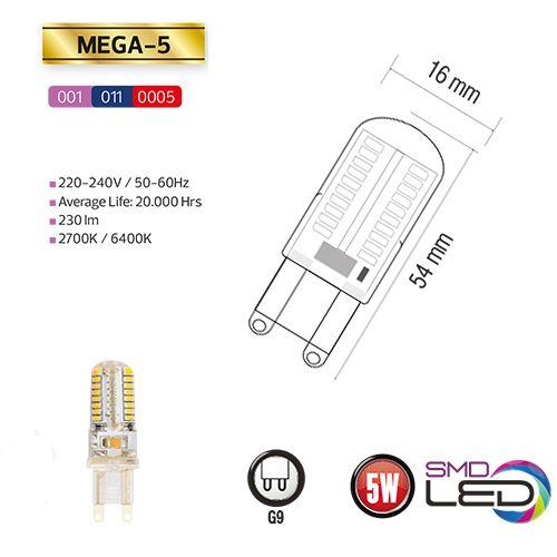 MEGA-5 5W Silikon G9 6400K LED Leuchtmittel