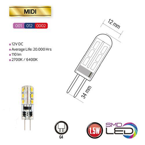 MIDI 1.5W Silikon G4 2700K 12V LED Leuchtmittel