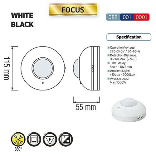 FOCUS SCHWARZ Infarot Bewegungsmelder Deckenmontage Sensor Aufputz 360° Max.1000W