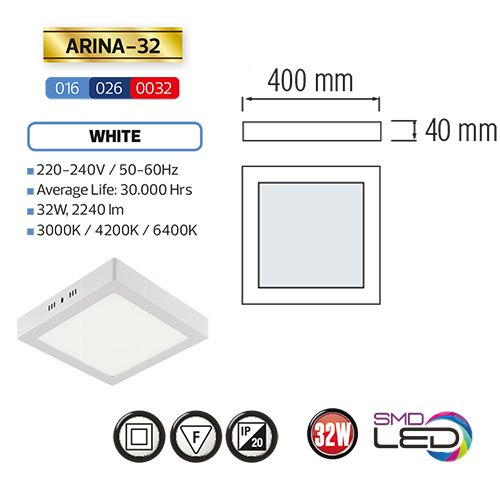 ARINA-32 LED Aufputz Panel Deckenpanel Eckig 32W, warmweiss 3000K