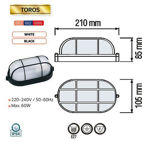 TOROS Feuchtraumleuchte Kellerlampe Kellerleuchte Ovalleuchte Schwarz E27 60W