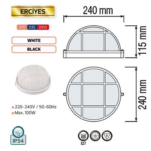 ERCIYES Feuchtraumleuchte Kellerlampe Kellerleuchte Rundleuchte Schwarz E27 100W