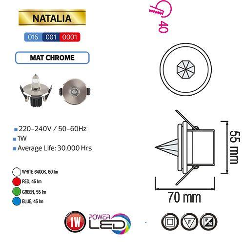 NATALIA 1W Weiss 6400K LED Crystalhimmel Sternhimmel Einbaustrahler Sternspot