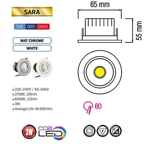 SARA 3W Weiss 2700K COB LED Einbaustrahler Einbauleuchte Strahler Schwenkbar Rund