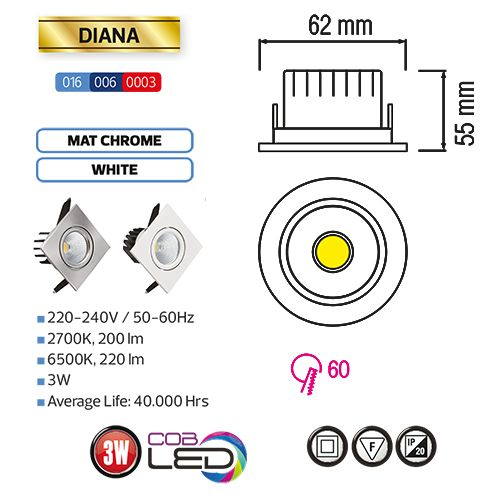 DIANA 3W Weiss 6500K COB LED Einbaustrahler Einbauleuchte Strahler Schwenkbar Eckig