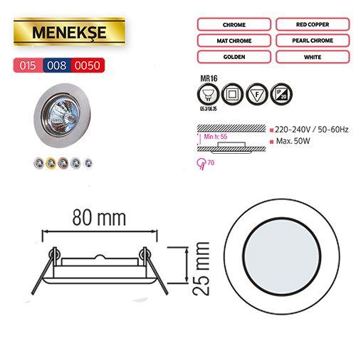 MENEKSE Weiss GU5.3 Einbaustrahler Einbaurahmen