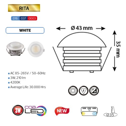 RITA 016-037-0003 3W 4200K 85-265V L.DOWNLIGHT