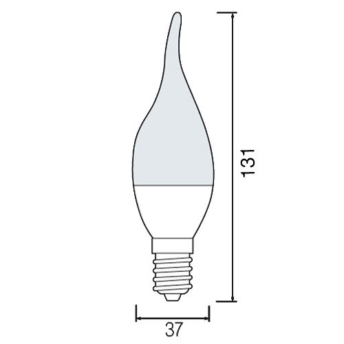 LED LEUCHTMITTEL E14 6W WINDSTOSS BIRNE