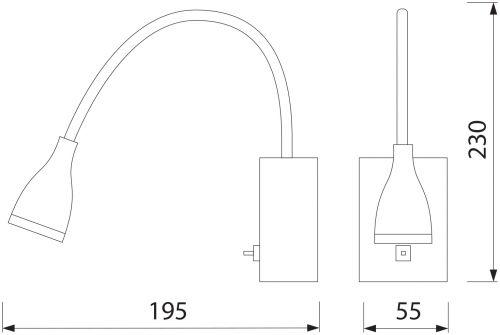 HL003L 3W SCHWARZ BILDER&SPIEGEL LAMPE
