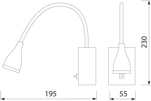 HL003L 3W ROT BILDER&SPIEGEL LAMPE