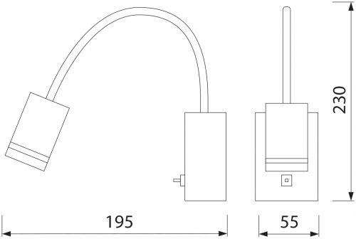 HL008L 3W SCHWARZ BILDER&SPIEGEL LAMPE