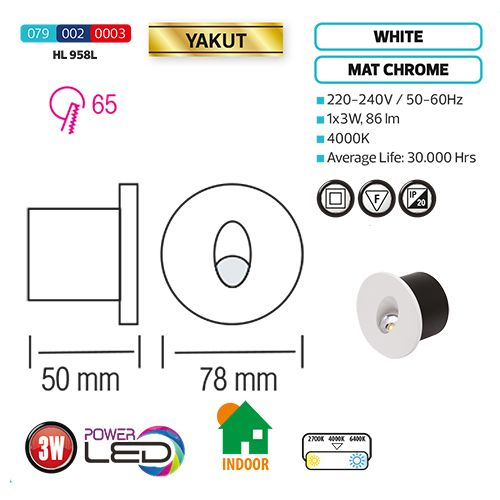YAKUT 3W Weiss LED Treppenbeleuchtung Indoor