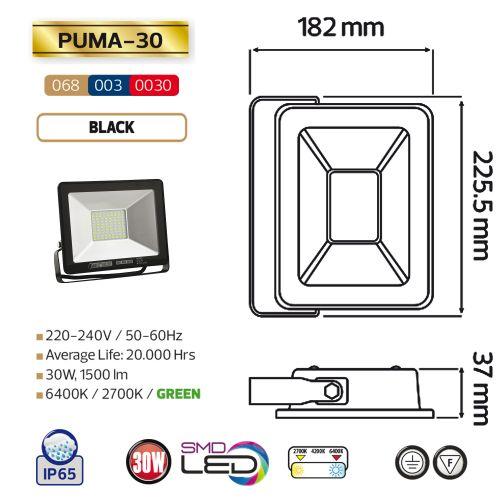 PUMA-30 30W Schwarz 6400K LED Projektor Fluter Strahler
